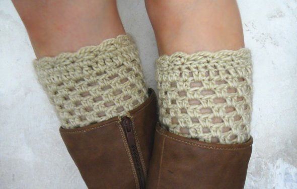 Crochet Boot Cuffs Women Leg