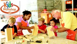 Children enjoying a free kids workshop at The Home Depot
