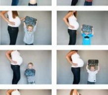 Creative birth announcement photo ideas: Chalkboard sibling photo series