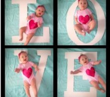 Creative birth announcement photo ideas |LOVE photo series at How to Nest for Less