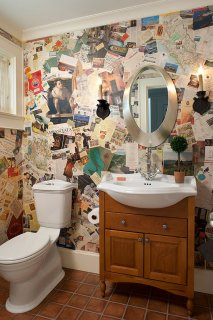 Decoupage done by local artisan offers great inspiration for those who want DIY wallpaper!