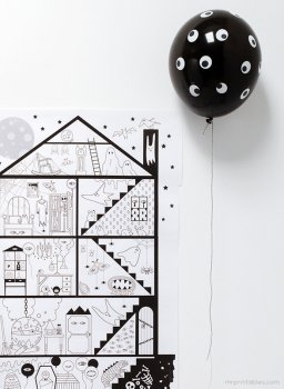 Free printable Halloween haunted house giant coloring page
