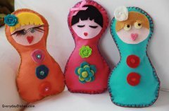 Image of Colorful Blanket Stitched Dolls