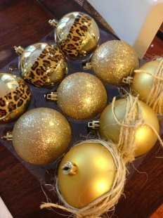 Simple DIY ornaments in gold and cheetah print